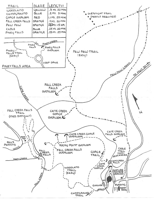 Fall Creek Falls In State Park Tennessee: Fall Creek Falls State Park Map At Codeve.org