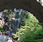 Shot of Hadlock Falls under the bridge