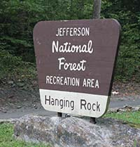 Sign for Hanging Rock Rec Area