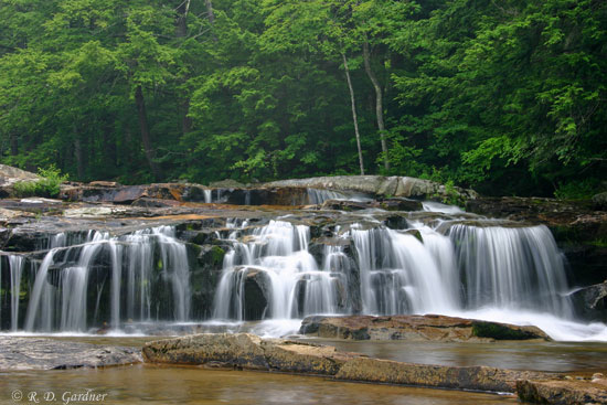 A shot of upper Jackson Falls in Jackson, New Hampshire