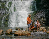 Austin, Daniel, and Ashlee in front of Laurel Falls