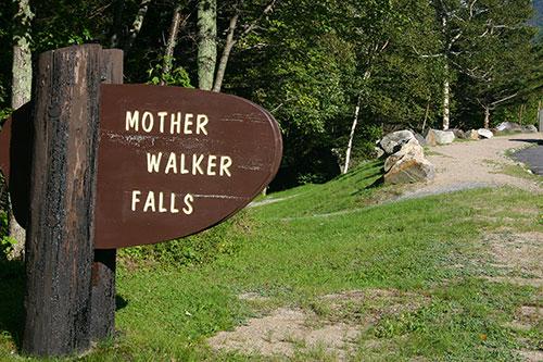 Sign for Mother Walker Falls