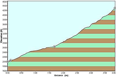 Elevation profile for Ramsay Cascades hike