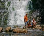 Austin, Daniel, and Ashlee in front of Laurel Falls