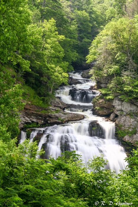 Portrait view of Cullasaja Falls near Highlands, NC