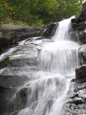 The main waterfall in White Oak Canyon, viewed from the bottom.