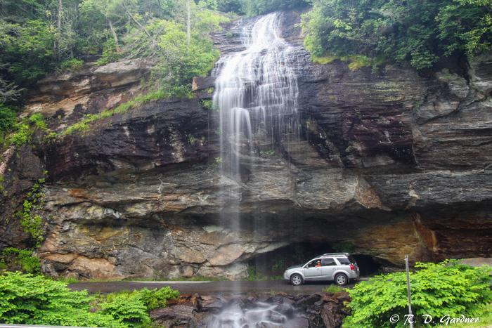View of Bridal Veil Falls as I drive behind it
